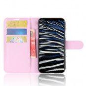 Litchi Plånboksfodral till iPhone XS / X - Rosa