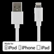 DELTACO USB-kabel -MFI Lightning ha, 1m, vit