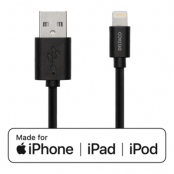 Deltaco USB Lightning Kabel till iPhone, iPad, och iPod, MFi, 1m - Svart