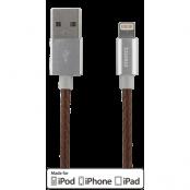 STREETZ USB - Lightning-kabel, MFi, 1m, brun/läder