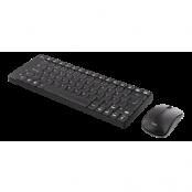 DELTACO trådlöst kompakt tangentbord och mus, USB nanomottagare, svart