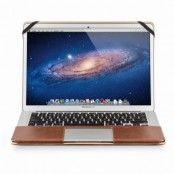 Qialino Macbook Air 13.3 tum / Macbook Pro 13 tum fodral i äkta läder - Brun