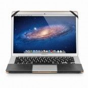 Qialino Macbook Air 13.3 tum / Macbook Pro 13 tum fodral i äkta läder - Svart