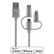 STREETZ 3-i-1 tygklädd USB-synk/laddarkabel, 1m - Silver