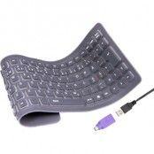 Deltaco minitangentbord - vikbar silikon, USB & PS/2 - Svart