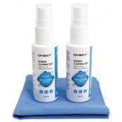 Qnect Cleaning Skärmrengöringssats, 2 x 30 ml + mikrofiberduk