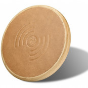 iCarer Qi Leather & Wooden Charger (iPhone) - Ljusbrun